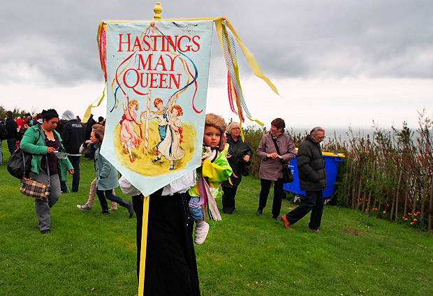 Crowning of the Queen of May at Hastings Castle, Hastings, East Sussex, England UK May 2012
