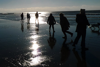Ogmore-by-sea, Vale of Glamorgan, south Wales - a winter walk along the beach